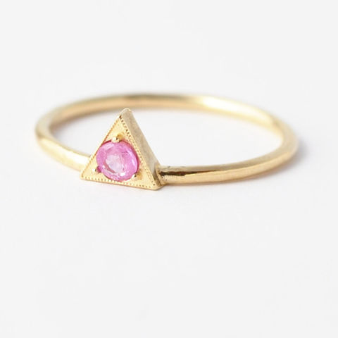 Pink,Sapphire,&,Solid,Gold,Ring,Unique Solitaire Trillion Cut Pink Sapphire Triangle Setting 14K 18K Gold Non Diamond Geometric Engagement Ring Cool September Birthstone Jewelry Gifts