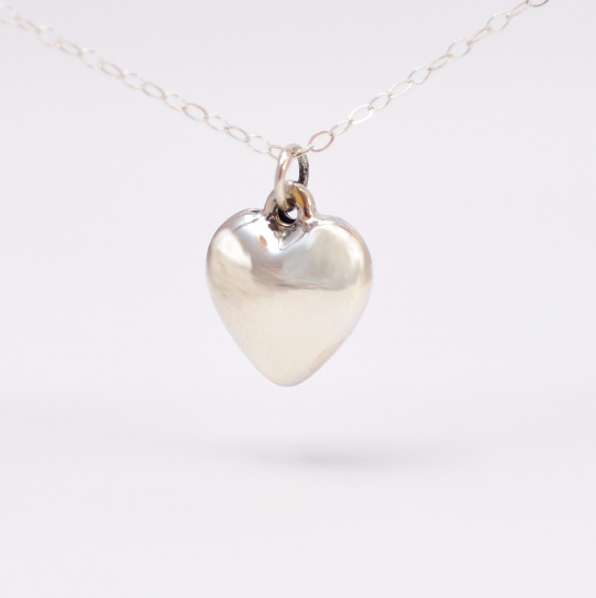 Simple Sterling Silver Heart Charm Necklace - product image