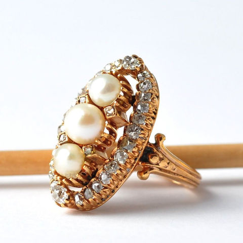 Antique,Pearl,and,Diamond,Halo,Cocktail,Ring:,Unique,Engagement,,Size,6.5,Antique Unique Pearl and Diamond Gold Halo Bridal Statement Cocktail Jewelry Ring Anniversary Gifts for Wife