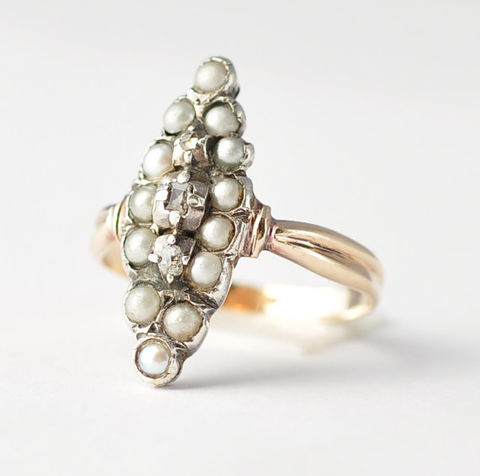Pearl,and,Diamond,Cluster,Ring:,1860s,Victorian,,10K,Yellow,Gold,&,Sterling,Silver,,Size,6.5,Victorian Antique Unique Pearl and Diamond Gold Cluster Engagement Cocktail Ring Jewelry Gifts for Women