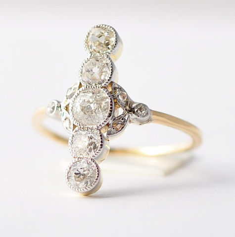 Diamond,Cocktail,Rings:,1920's,Art,Nouveau,,18K,Yellow,Gold,,Size,6.5,Beautiful Art Nouveau Antique Unique Unusual Unconventional Elegant Multistone Old Mine Cut Stacked Diamond COcktail Engagement Ring