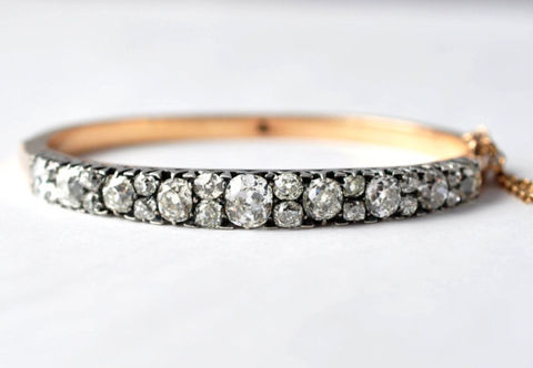 Antique,Diamond,Bangle,Bracelet:,1910's,Bridal,Jewelry,,14K,Yellow,Gold,&,Silver,Antique Edwardian Luxury Real Diamond Gold Bridal Wedding Anniversary Birthday Bangle Bracelet Gifts