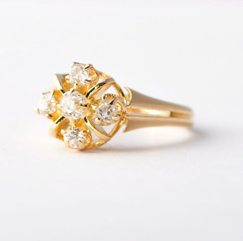 Cluster,Diamond,Engagement,Ring:,Antique,,18K,Yellow,Gold,,Size,4.75/5,Antique Art Nouveau Alternative Right Hand Daisy Flower Diamond Cluster 14K Yellow Gold Engagement Cocktail Ring Jewelry Gifts for Her