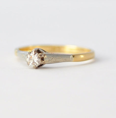 18K,Diamond,Ring:,1930s,Art,Deco,,Yellow,Gold,,Size,5.75,Antique 1930s Art Deco Estate Simple Solitaire Diamond 18K White Yellow Gold Engagement Ring