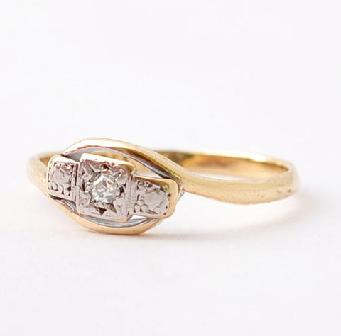 Art,Deco,Diamond,Engagement,Rings:,9K,Gold,&,Platinum,,Size,7,Antique Art Deco Solitaire Diamond 18K Yellow Gold Platinum 10 Year Anniversary Engagement Ring Jewelry for Women