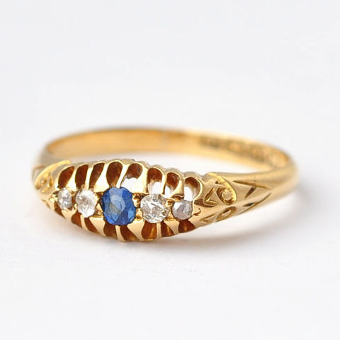 Sapphire,and,Diamond,Ring:,Victorian,18K,Gold,,Size,6.5,Unique Antique Victorian Multistone Blue Sapphire and Diamond 18K Yellow Gold Ring Jewelry
