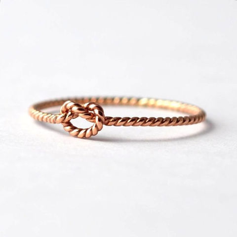 Twist,Knot,Promise,Ring:,14K,Solid,Rose,Gold,Thin Slim Skinny Dainty Delicate Tiny Thin Forget Me Tie the Love Knot 14K Rose Gold Braided Rope Twist Promise Ring