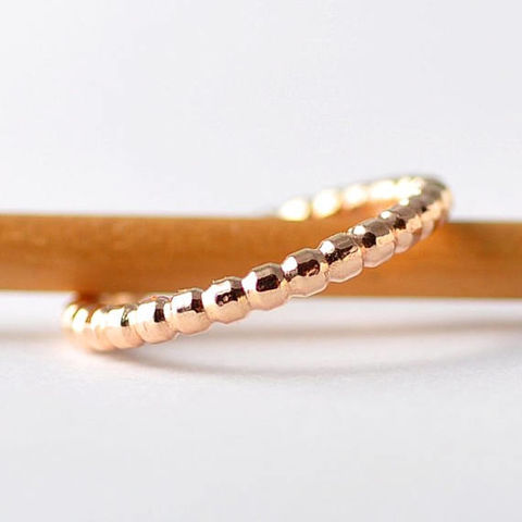 Unique,Textured,Ring:,14K,Yellow,Gold,,Anniversary,Gifts,Unique Textured Boho 14K Solid Gold Beaded Bubble Promise Stacking Stacker Wedding Ring Band Gifts for Her