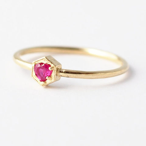 Ruby,Engagement,Ring:,14K,18K,Gold,Solitaire Ruby Hexagon Non Diamond 18K White Yellow Rose Gold Engagement Geometric Modern Ring Jewelry