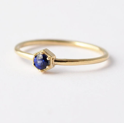 Sapphire,Ring:,14K/18K,Gold,Hexagon,,Non,Diamond,Engagement,Ring,Solitaire Sapphire Hexagon Non Diamond 18K White Yellow Rose Gold Engagement Geometric Modern Ring Jewelry