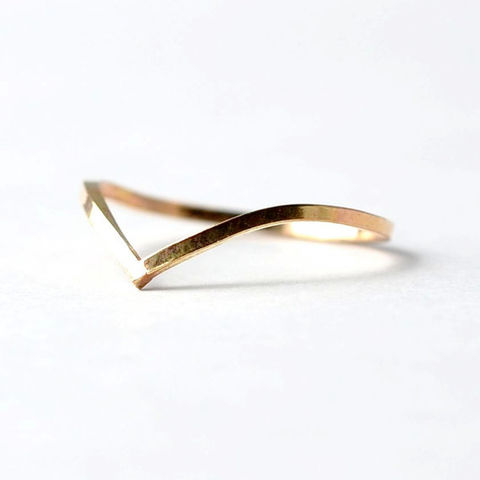 Yellow,Gold,Filled,Chevron,Ring:,Square,Edged,Boho Thin Dainty V Shaped Chevron Yellow Gold Filled Stacking Stacker Ring Gifts for Teenage Girls Women Wife