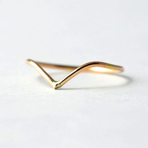 Yellow,Gold,Filled,V,Shaped,Ring,Boho Thin Dainty V Shaped Chevron 14K Yellow Gold Filled Stacking Stacker Ring Gifts for Teenage Girls Women Wife