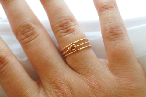 Yellow,Gold,Stacking,Ring,Set:,Twist,Knot,&,Bands,Simple Nautical Preppy Boho 14K Yellow Gold Filled Stacking Ring Band Set Gifts for Best Friends Sister Women Under 50