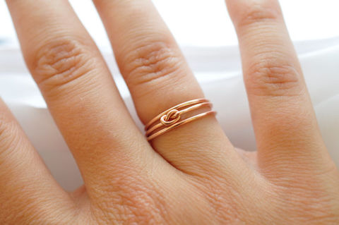 Yellow,Gold,Stacking,Ring,Set:,Knot,&,Simple,Bands,Simple Nautical Preppy Boho 14K Yellow Gold Filled Stacking Ring Band Set Gifts for Best Friends Sister Women Under 50