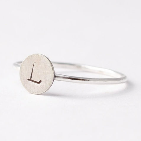 Sterling,Silver,Engraved,Initial,Ring,Engraved Customized Personalized Monogram Initial Letter Monogrammed Circle Disc 925 Sterling Silver Stackable Ring Jewelry