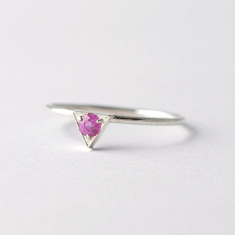 Triangular,Pink,Sapphire,&,Silver,Ring,Unique Solitaire Trillion Cut Pink Sapphire Triangle Setting Sterling Silver Non Diamond Geometric Engagement Ring Cool September Birthstone Jewelry Gifts