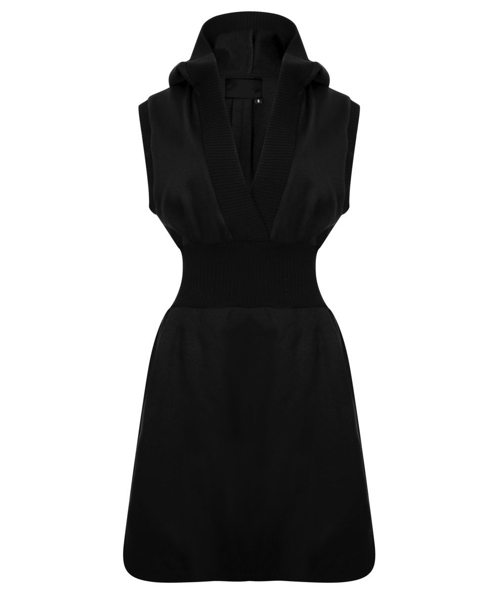 Sleeveless Hoodie Dress (Black) - product image