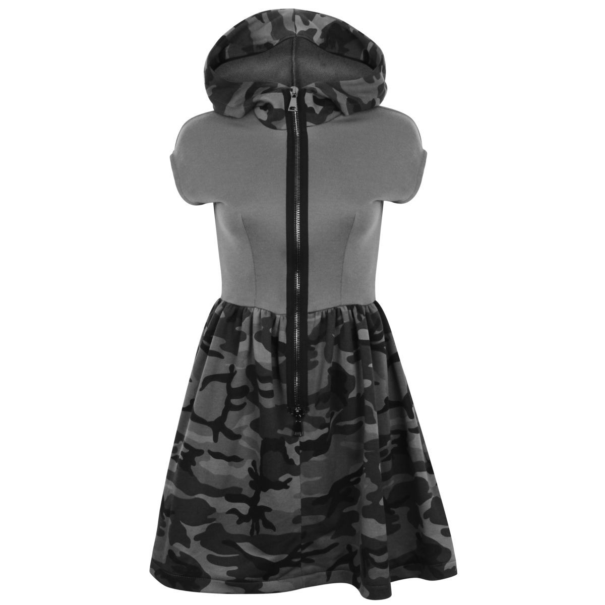 Sleeveless Hoodie Dress (Grey Camo) - product images  of