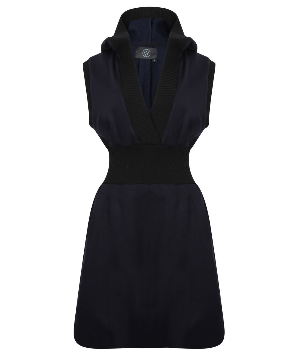 Sleeveless Hoodie Dress (Navy) - product image