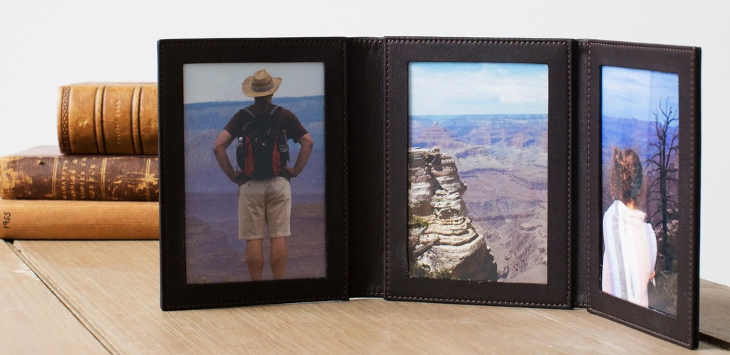triple leather folding photo frame