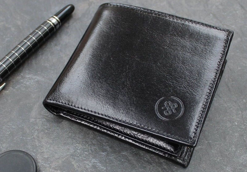 black italian leather wallet