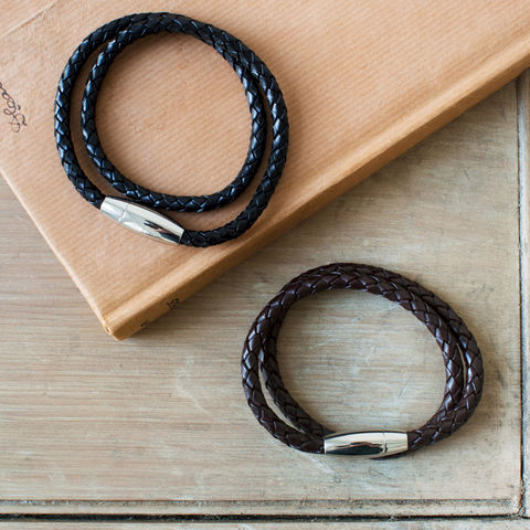 Mens,Double,Leather,Bracelet,mens, black, brown, leather, bracelet, jewellery, gift, plaited