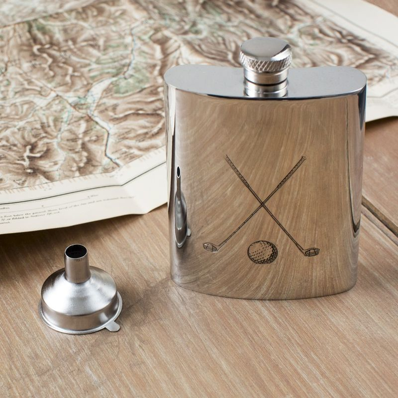 Golf Clubs Pewter Hip Flask - can be personalised - product image