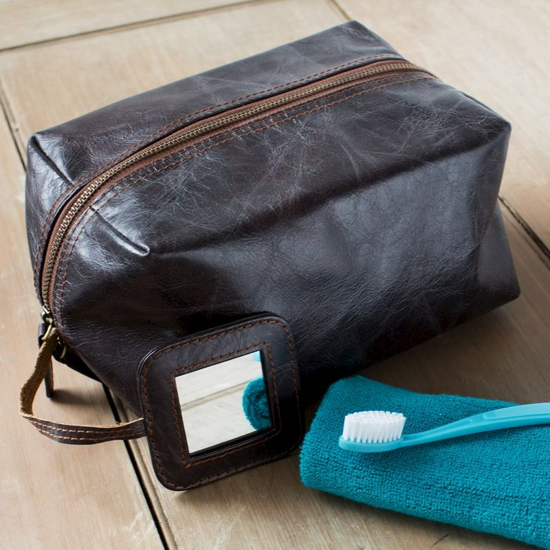 Dark Brown Rugged Leather Wash Bag - product image