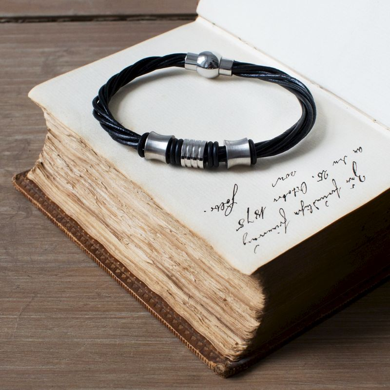 Black Leather and Steel Bracelet - product image