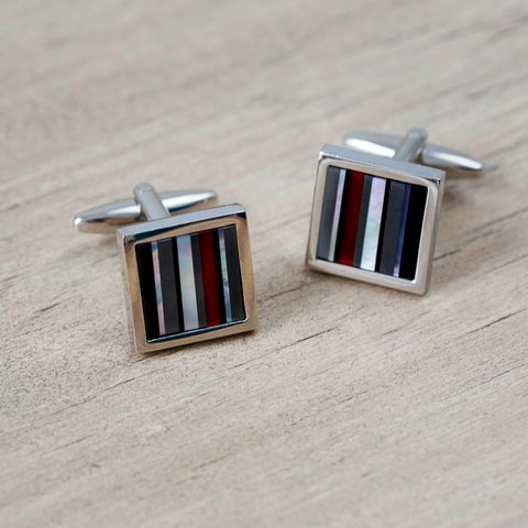 Mother,of,Pearl,Striped,Cufflinks,red, mother, of, pearl, grey, white, cufflinks, mens, gift, striped