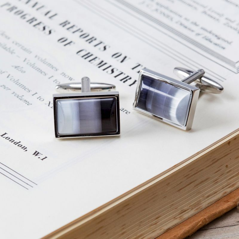 Grey Striped Cufflinks - product image