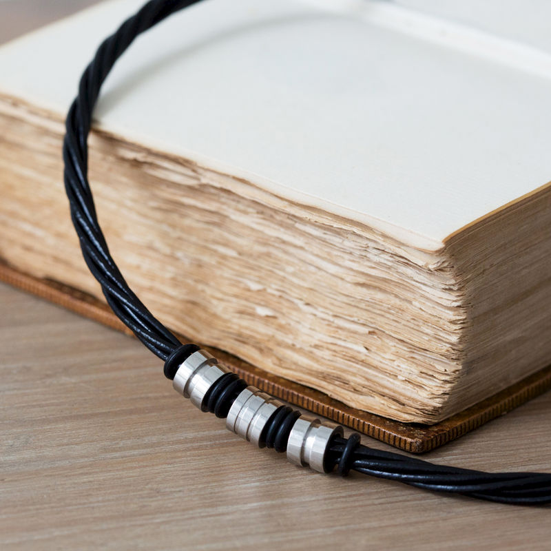 Brown Stylish Mens Leather Necklace - product images  of