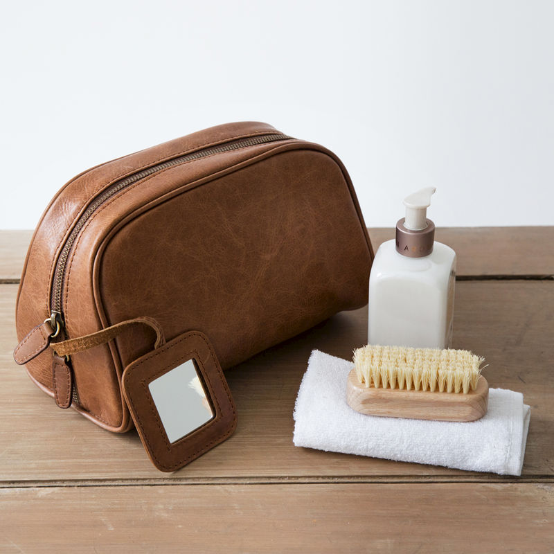 Tan Rugged Leather Toiletry Bag - product images  of