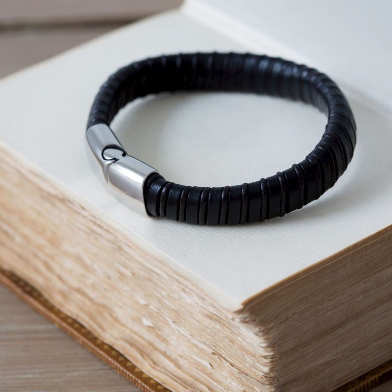 Striped Black and Brown Leather Bracelet - product images  of