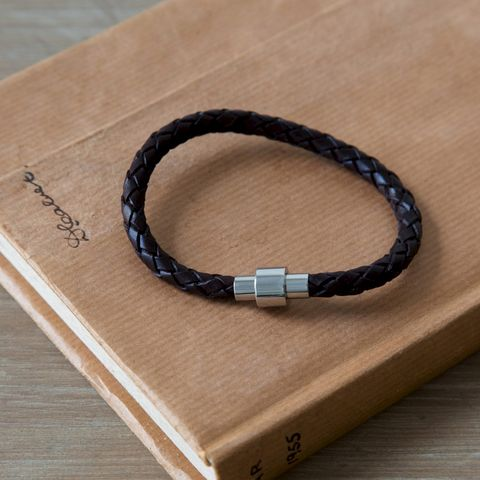 Leather,Plaited,Bracelet,black, brown, mens, plaited, leather, bracelet
