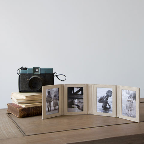 Folding,Four,Fold,Leather,Photo,Frame,black, beige, leather, four, photos, folding, travel, photo, frame, mens, man, gift, grandparents