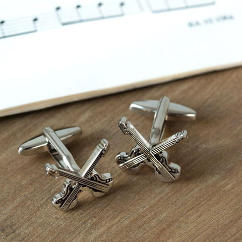 Twin,Guitar,Cufflinks,unusual, modern, trendy,mens, guitar, music, cufflinks, silver, brass