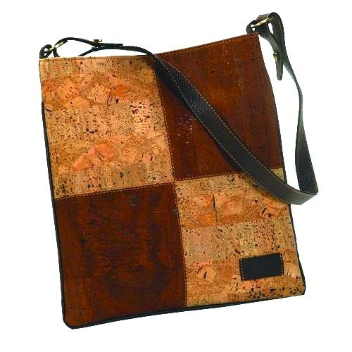 Cork and Leather Patchwork Shoulder Bag - product image