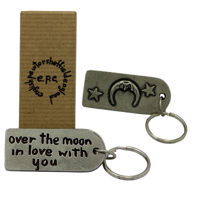 Over the moon in love with you Pewter Keyring - product image