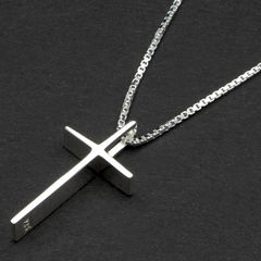 Sterling Silver Cross Pendant in Personalised Box - product images  of