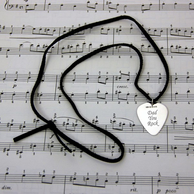 Engraved Sterling Silver Plectrum Necklace - product image