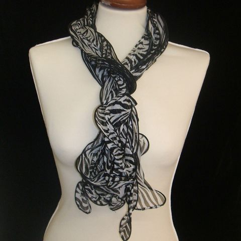 Black,and,White,Frilly,Scarf,black, and, white, scarf, silk, viscose, ladies, womens, birthday, gift, grandmother, for