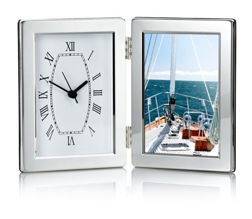 Silver Folding Travel Clock Photo Frame - product image