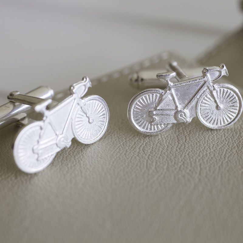 Sterling Silver Racing Bike Cufflinks - product images  of