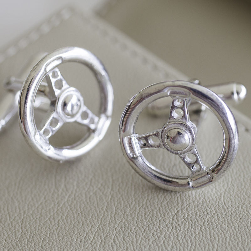 Sterling Silver Steering Wheel Cufflinks - product images  of