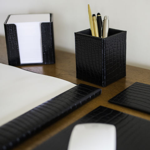 Black,Leather,Executive,Desk,Set,black, leather, executive, desk, set, blotter, mouse, mat, pen, holder, pot, memo, block, drink, mats