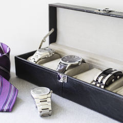 Black 6 Piece Watch Box - product images  of