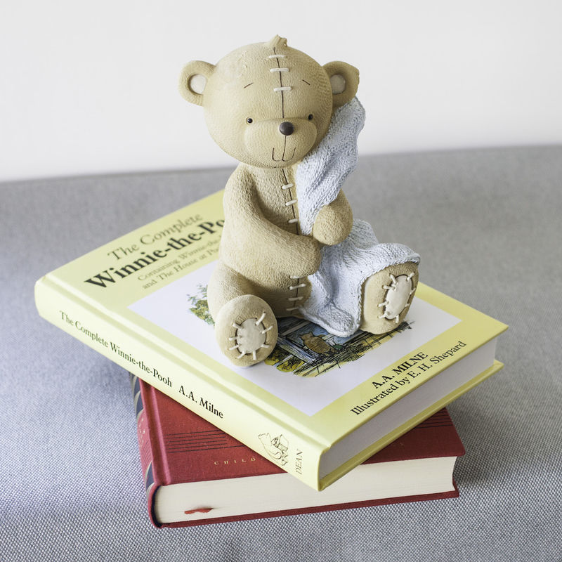Cute Teddy Money Box with Blue Blanket - product images  of