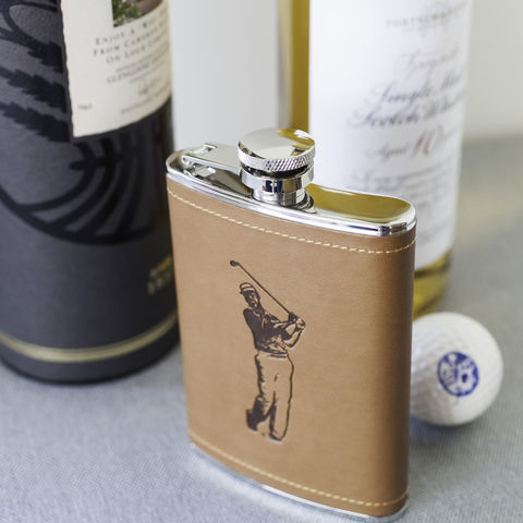 Tan,Golfer,Hip,Flask,golf, golfer, golfing, hip, flask, 6oz, mens, corporate, gift, birthday, christmas, sport, present