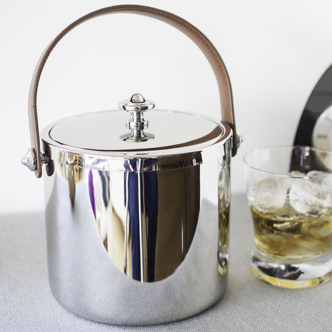 Simple,Ice,Bucket,ice, bucket, with, lid, stainless, steel, leather, handle, wedding, anniversary, gift, present, christmas